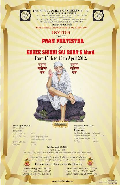 Shirdi Sai Baba's Idol PranPratistha in Edmonton