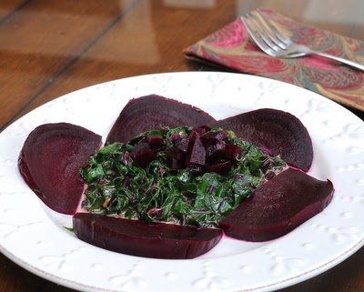 Creamy Spinach or Beet Greens with Roasted Beet from A Veggie Venture.
