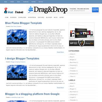 Blue Flame Blogger Template. image slider blogger template. 3 column footer template blog