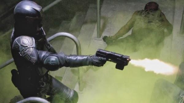 Karl Urban in 2012's Dredd, directed by Pete Travis.