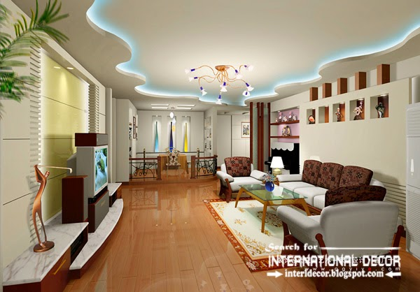 Plasterboard Ceiling Design For Modern Living Room False With Lighting