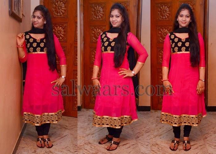 Actress Pink Chiffon Churidar