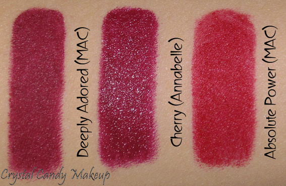 Crayon rouge à lèvres TwistUp Cherry d'Annabelle - Review - Swatch - MAC Deeply Adored - Absolute Power