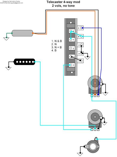 Hermetico Guitar: Wiring Diagram - Tele 4-way mod with two volumesHermetico Guitar - blogger