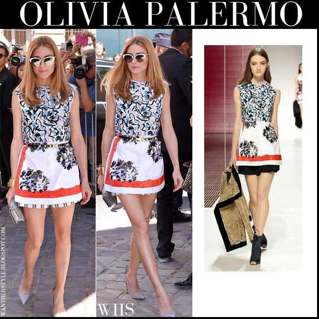 Olivia Palermo in white floral mini dress dior cruise 2015 with grey francesco russo pumps and mirrored dior sunglasses what she wore july 6 paris
