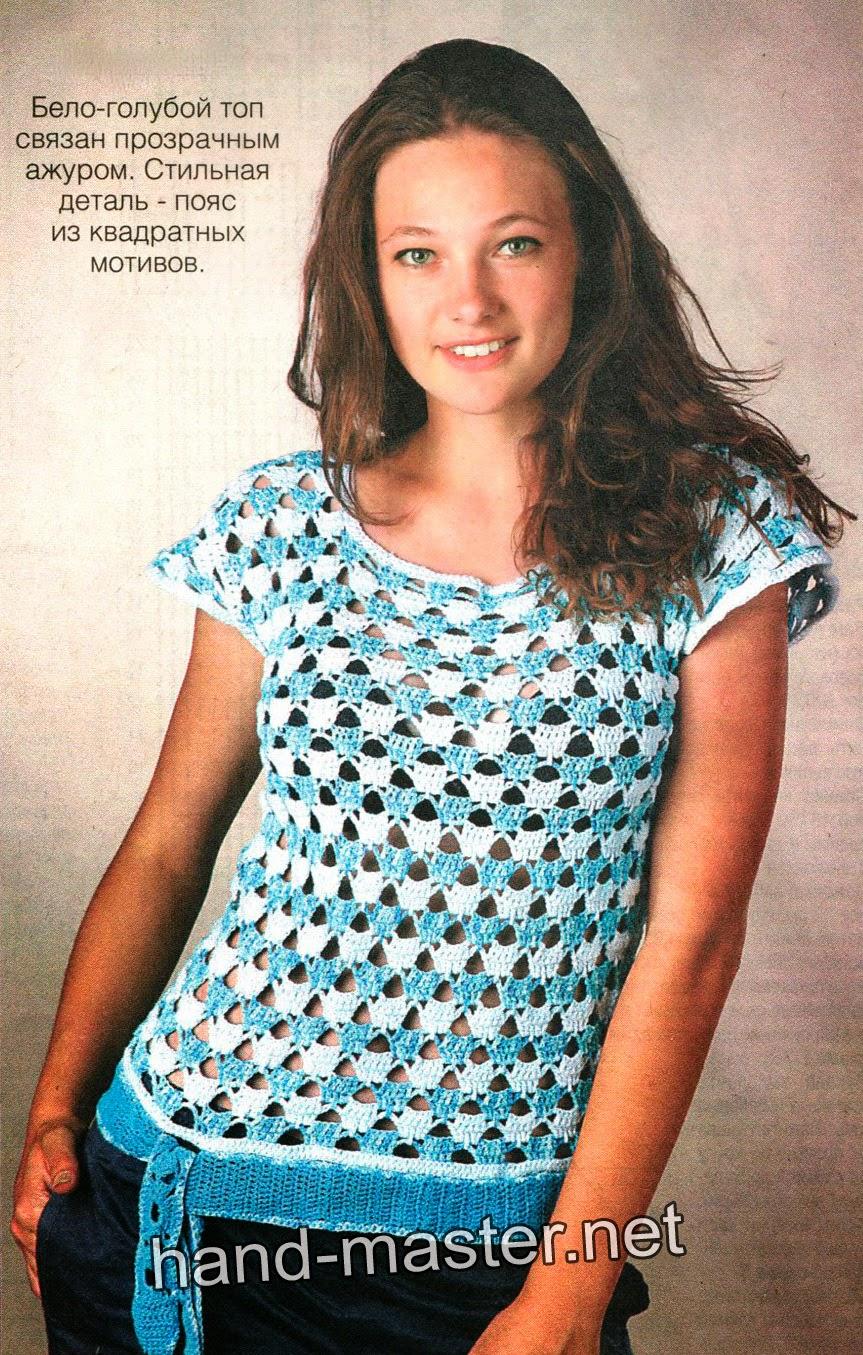 Blusa tejida al crochet en dos colores
