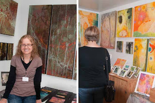 Shelly with Art Work at Left and Luna's Art Work at Right
