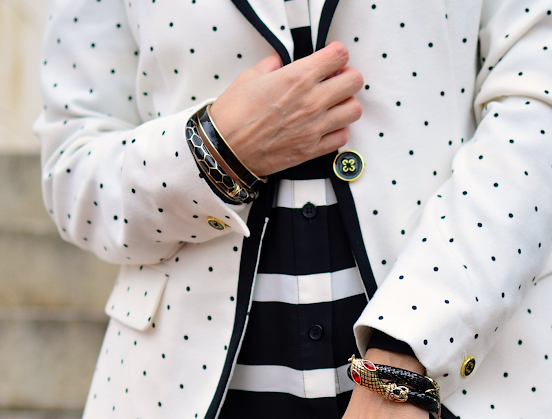 Polka dots and stripes outfit