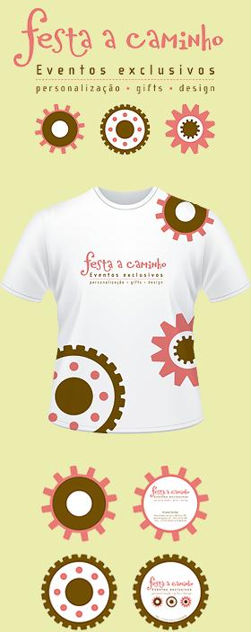 Criação de Identidade Visual para a marca FESTA A CAMINHO: Logomarca, camiseta e tags/cartões