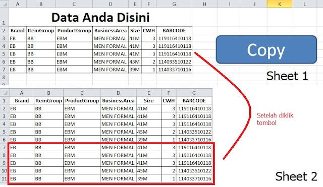 cara menyalin data secara otomatis dengan VBA Excel