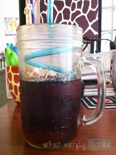 "What Mandy Thinks: Image of a silly straw inside a glass: ""It stands up by itself in my fancy mason jar, how neat!"""