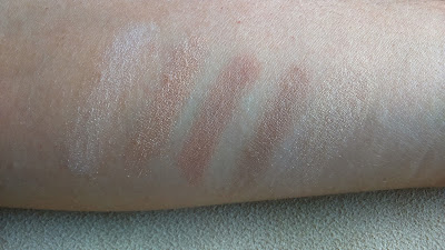 L'oreal La Palette Nude Beige, swatches of 5 shadows on the left