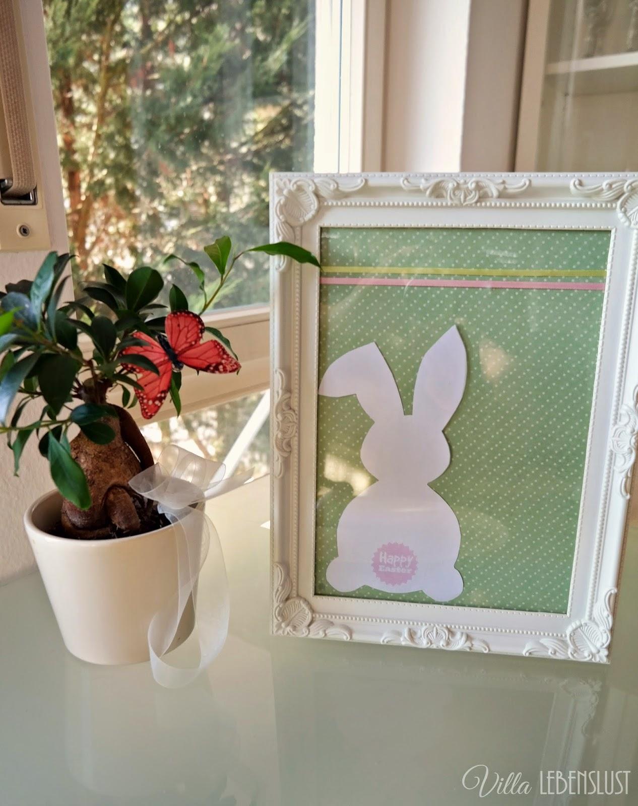 Villa Lebenslust Blog: DIY Osterhasenbild mit Happy Easter-Puschel