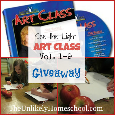 See the Light Art Class DVD Series giveaway.  All 9 volumes to one winner. The Unlikely Homeschool