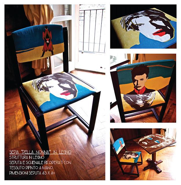vecchia sedia ritrasformata con disegni a mano sullo schienale e sulla seduta