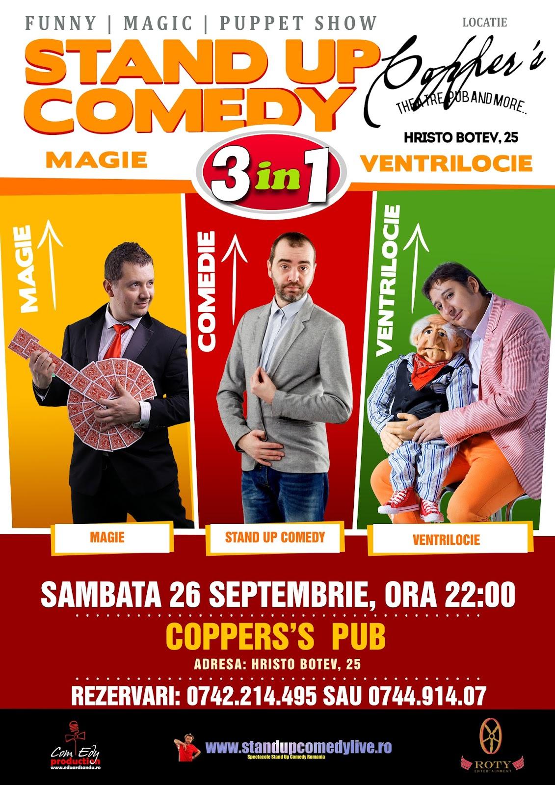 Stand-up Comedy, Magie si Ventrilocie-Sambata 26 Septembrie Bucuresti