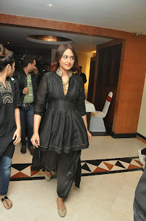 Actress Sonakshi Sinha Latest Pictures in Black Dress at Tevar Movie Press Meet  5