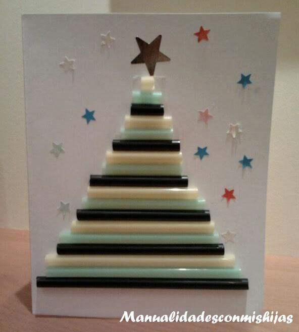 Manualidades Con Mis Hijas Tarjeta Navidena Pinos De Navidad Con - Manualidades-de-tarjetas-de-navidad
