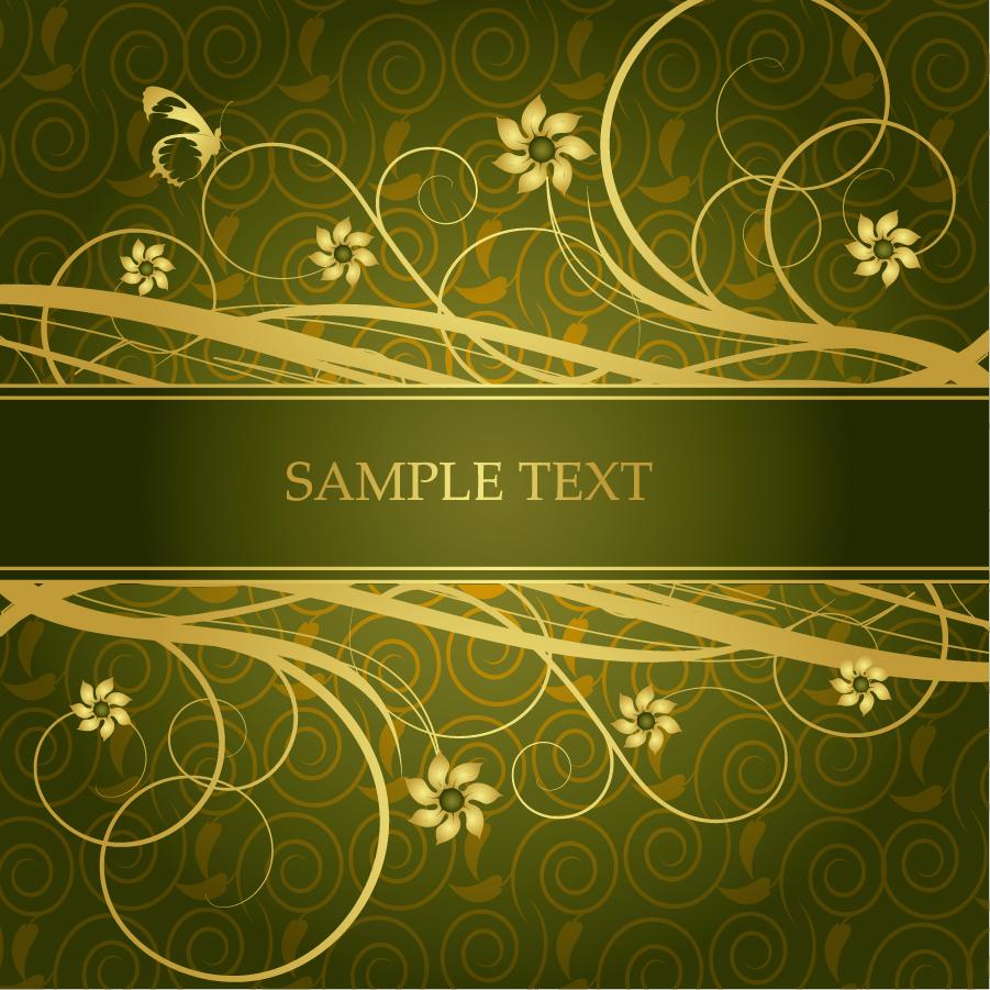 ゴージャスな金色の蔓が巻いた背景 flower gorgeous fashion pattern イラスト素材5