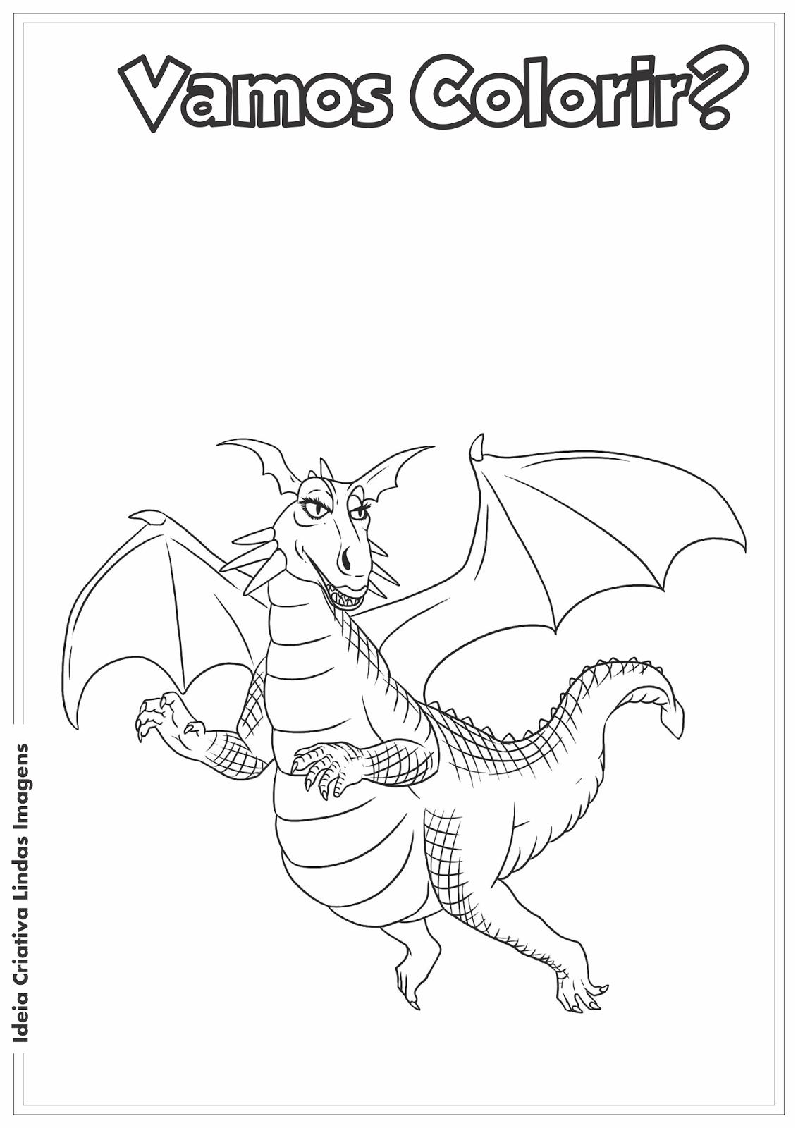 Shrek - Dragão desenho para colorir