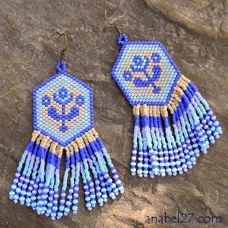 Этнические серьги из бисера купить украина анабель синие