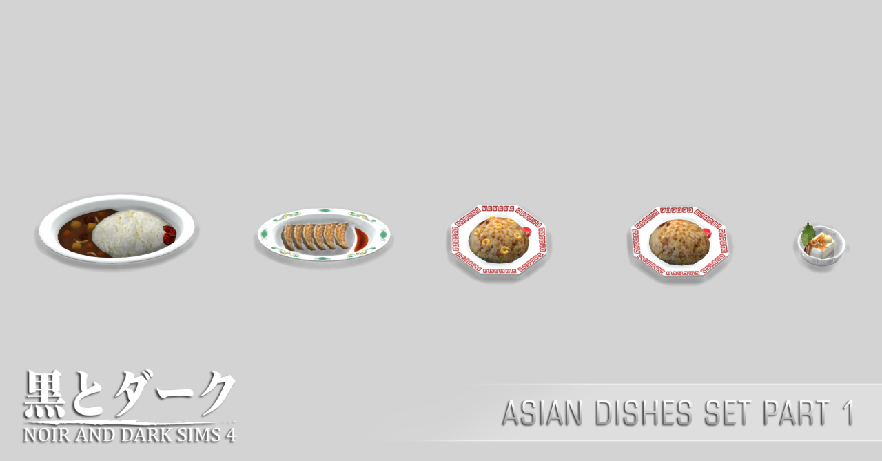 Really asian style dishes set Bush Hairy
