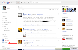 Start Google plus:Update Facebook and Twitter through Google plus,How to manage Facebook and Twitter using Google plus