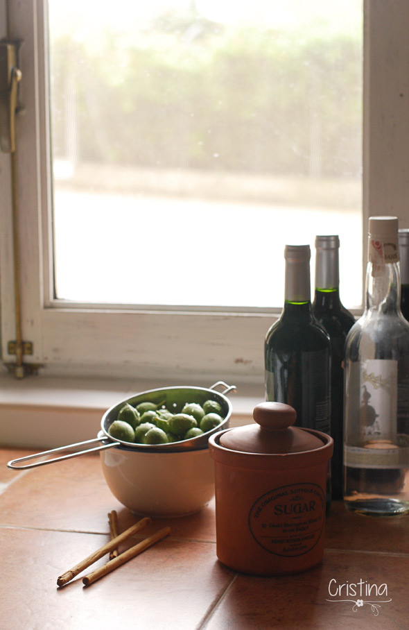 nueces verdes, vino, orujo, azúcar