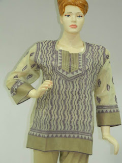 Lucknowi Chikan Purple Cream Chanderi Kurta