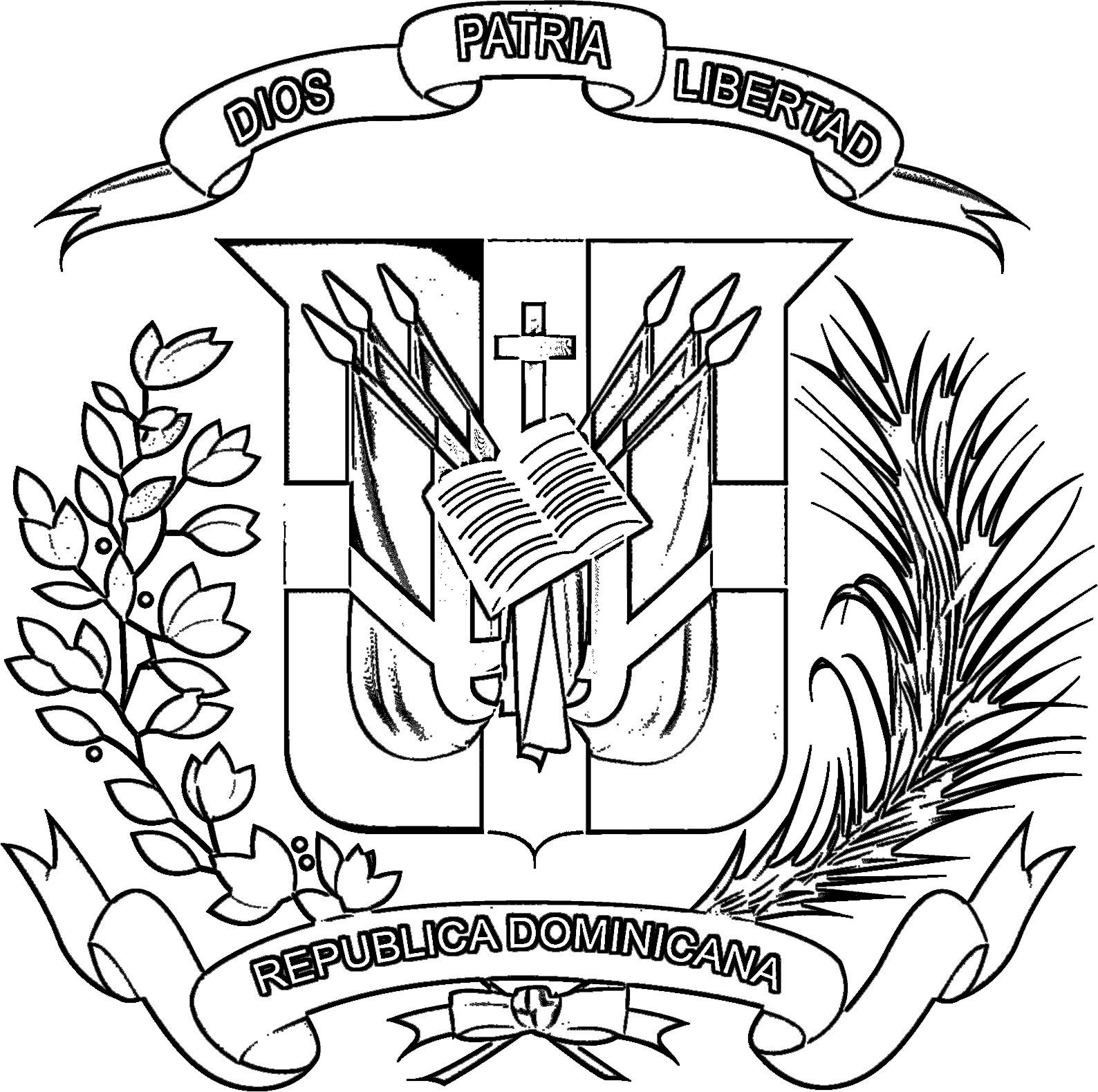 Escudo De Republica Dominicana Para Dibujar Pintar Colorear Imprimir