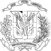 Mapa y Bandera y Escudo de Republica Dominicana para dibujar pintar colorear . republica dominicana