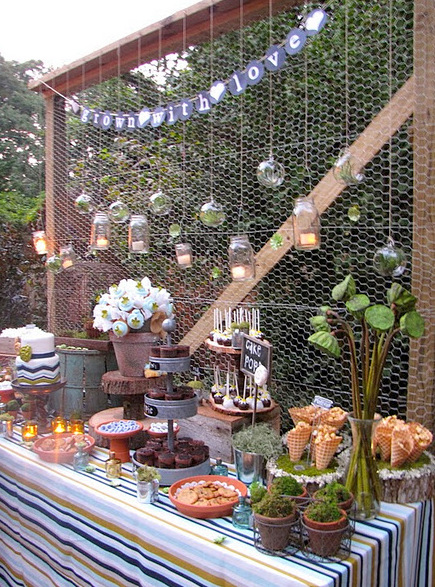 Party frosting spring garden planting party ideas inspiration for Garden table decorations