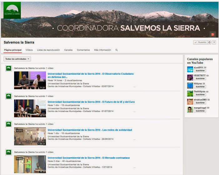 Canal Youtube de la Coordinadora Salvemos la Sierra