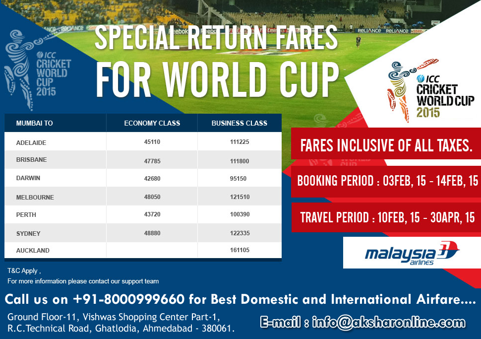 MH Offers ICC Cricket World Cup 2015 - Lowest Fare Call us on 07927665284,8000999660 for Best airfare...