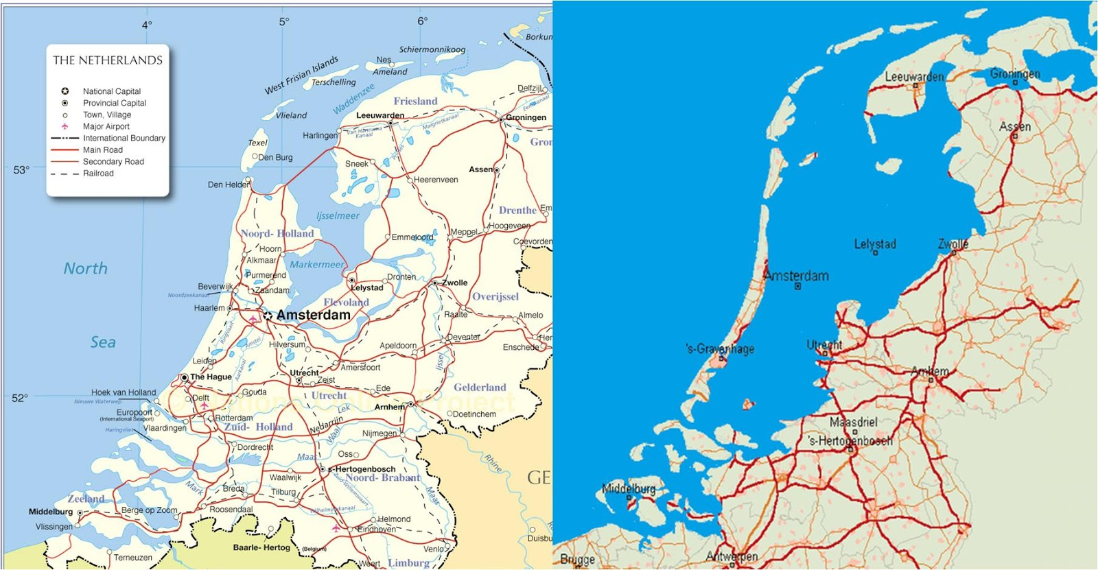 The Netherlands & The Netherlands without dikes