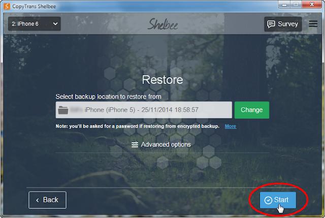 start ios backup with copytrans shelbee