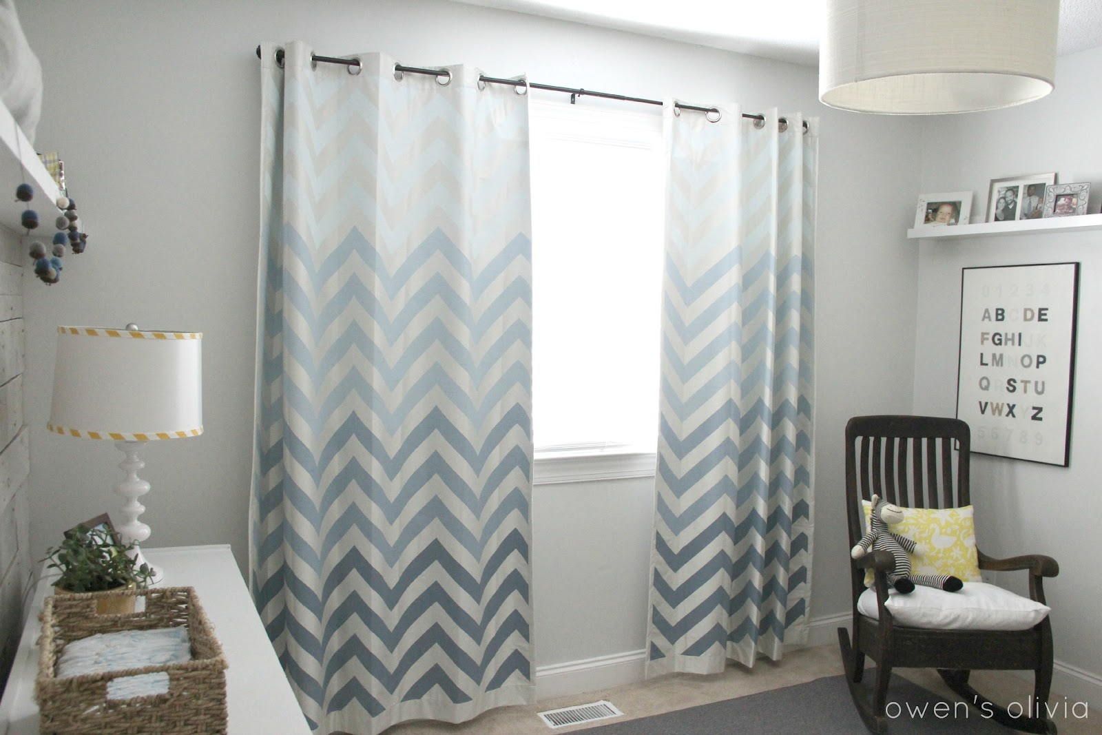 grey boys bedroom nursery with ombre chevron curtains