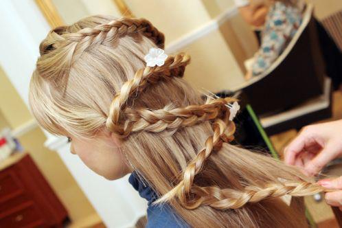 Прическа на длинные волосы в домашних условиях детский