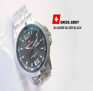 jam tangan keren SWISS ARMY SA-6335M SILVER BLACK
