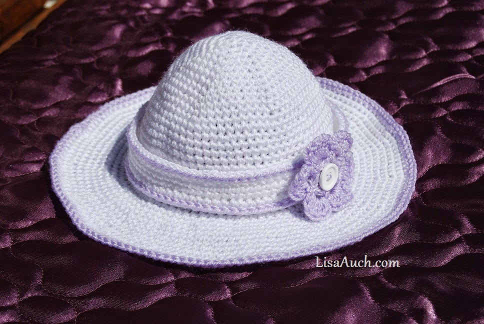 free crochet pattern childs sun hat and detachable crochet headband with button fastening