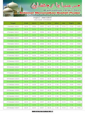 Jadwal Imsakiyah Kota Banjar Tahun 2015 (1436 H)
