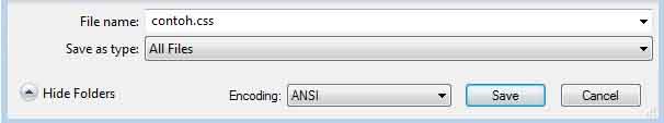 Contoh menyimpan file css di notepad