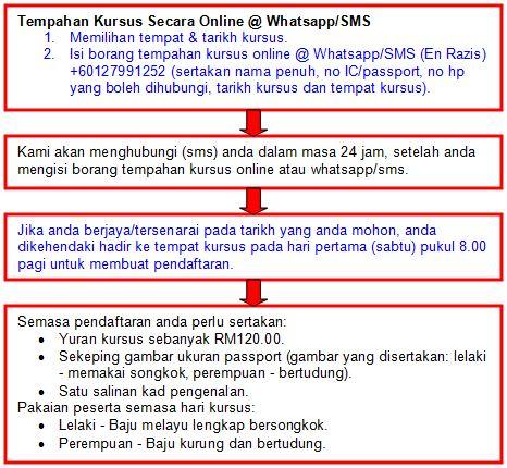 Panduan Tempahan Kursus Secara Online @ Whatsapp/SMS