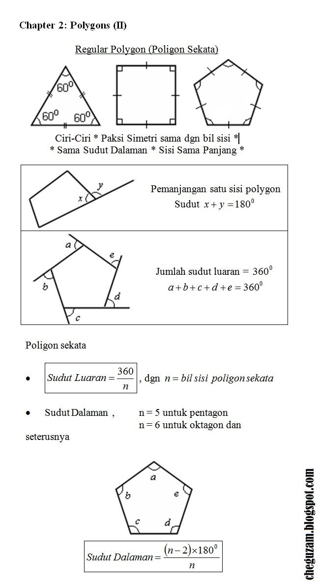 Nota Matematik Tingkatan 3 Bab 2 Poligon Polygons Ii Chegu Zam