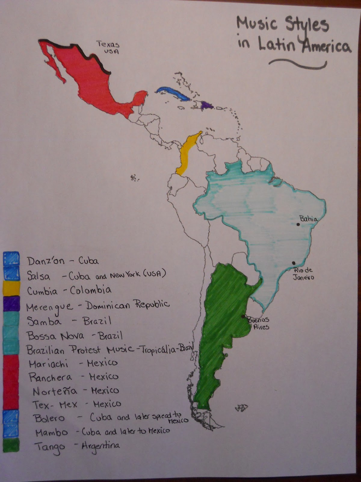 music styles in latin america map