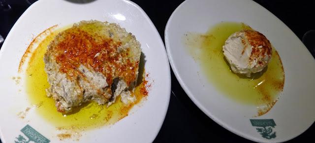 Hummus y Moutabal, restaurante Shukran (Casa Árabe)