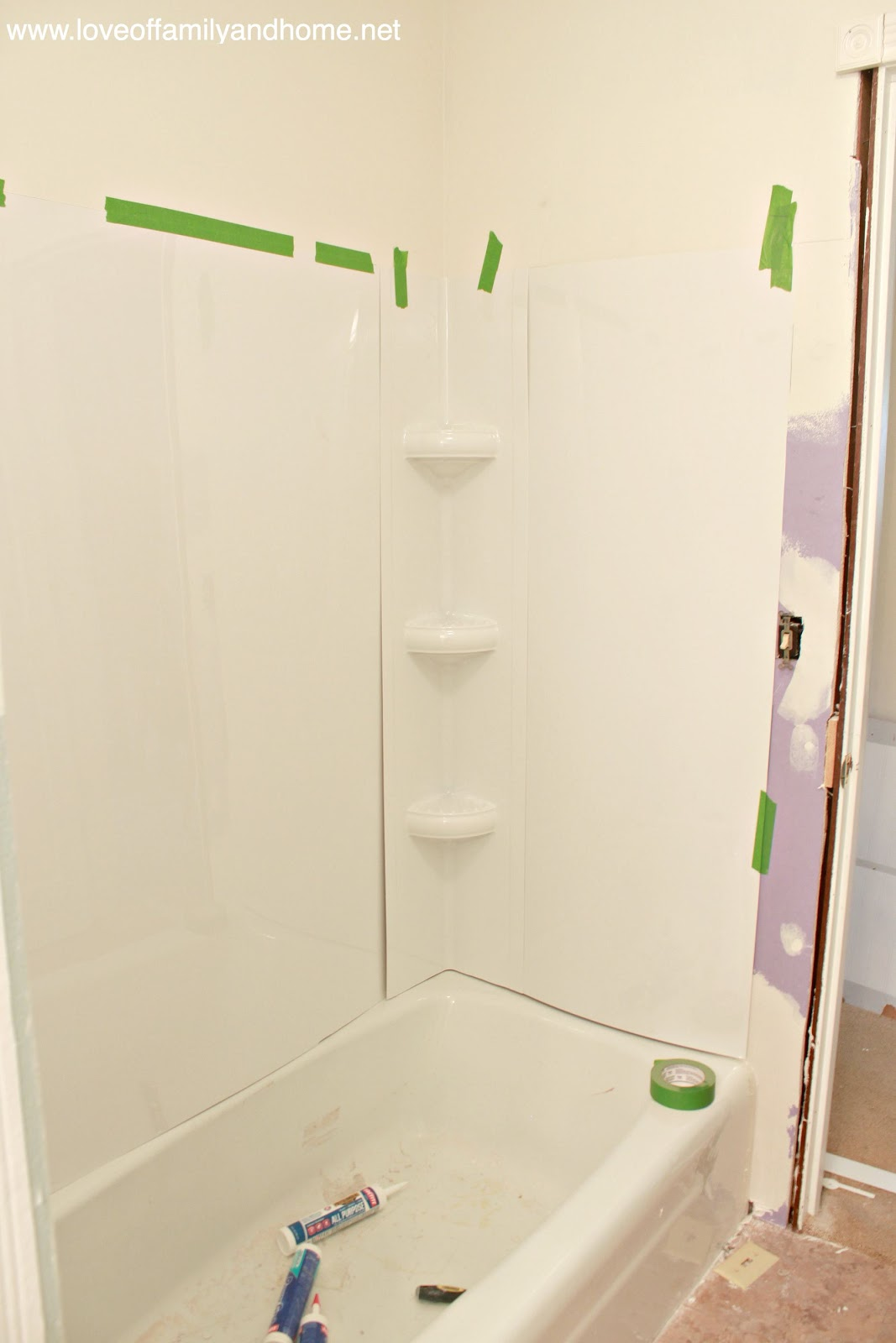 Shower Before & After with Tub Surround Tutorial - Love of Family & Home