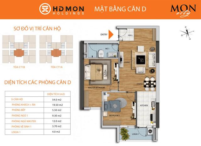 Căn D 54m2 chung cư HD Mon City