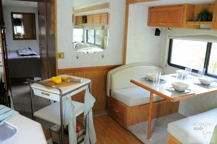 Ikea kitchen cart in RV for more counterspace and banquette:: OrganizingMadeFun.com