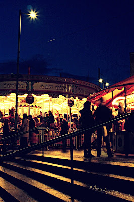 at the merry-go-round, at the Christmas market in Galway in the dark